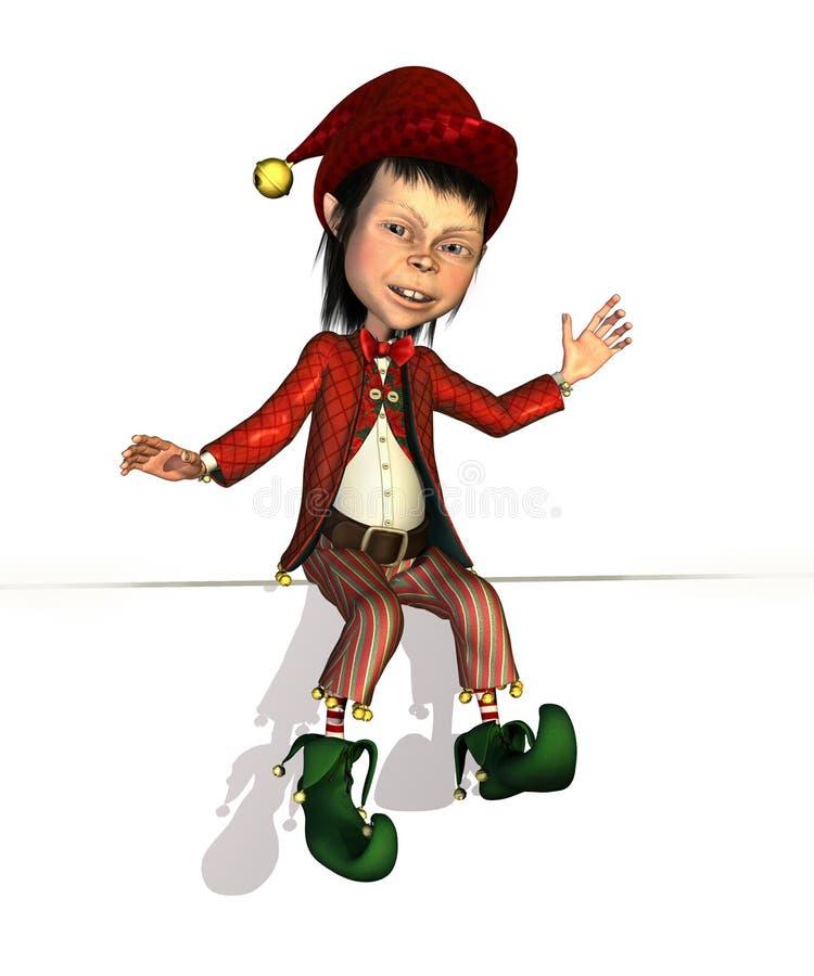 De Zitting van het Elf van de kerstman op een Rand royalty-vrije illustratie