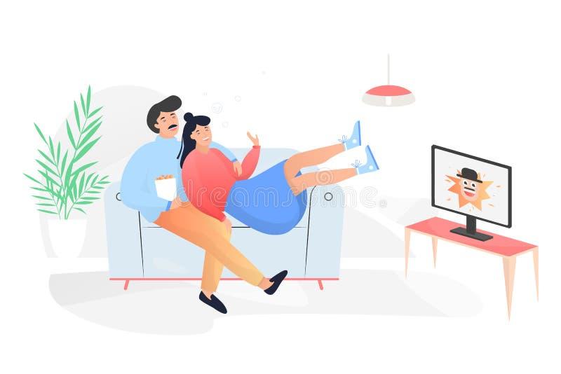 De zitting van het familiepaar thuis op laag stock illustratie