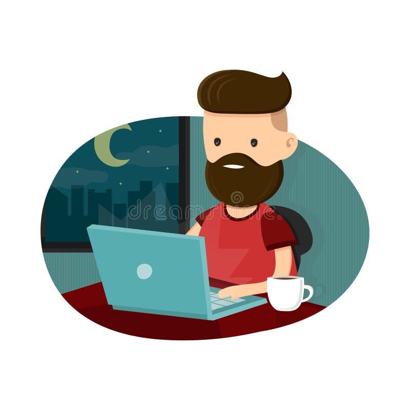 De zitting van het jonge mensen hipster karakter bij een laptop en het werk overwerk laat - nacht Het freelance werk Vlakke vecto royalty-vrije illustratie