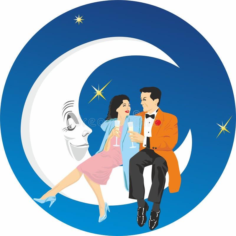 De zitting van het liefdepaar op de maan De conceptenachtergrond voor de Dag van Valentine, Affiches, huwelijksuitnodigingen vector illustratie