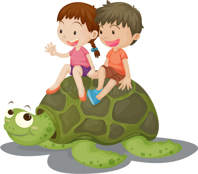 De Zitting van het meisje en van de Jongen op Schildpad stock illustratie
