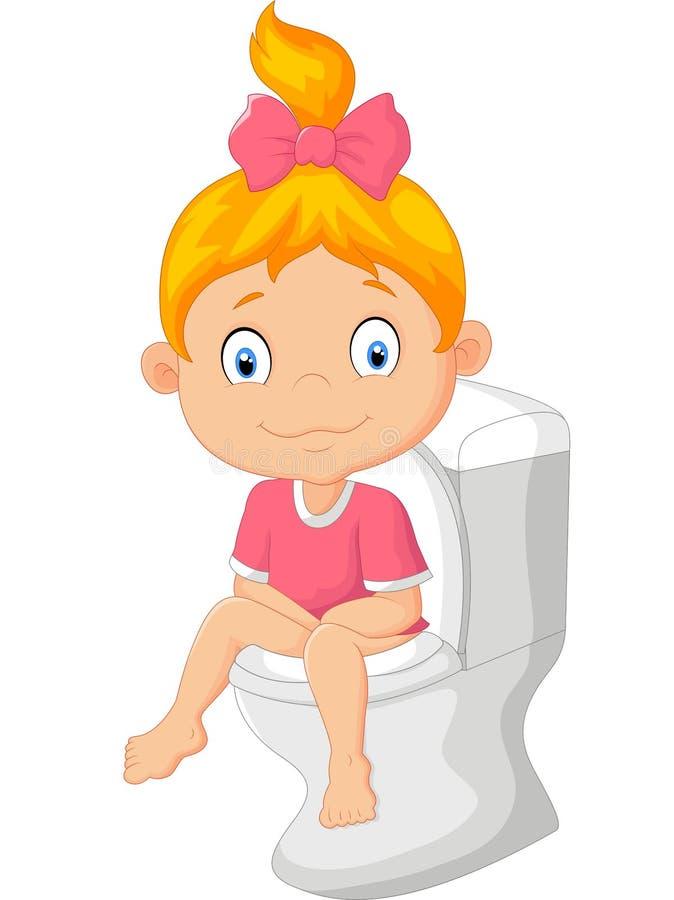 De zitting van het meisjebeeldverhaal op het toilet royalty-vrije illustratie