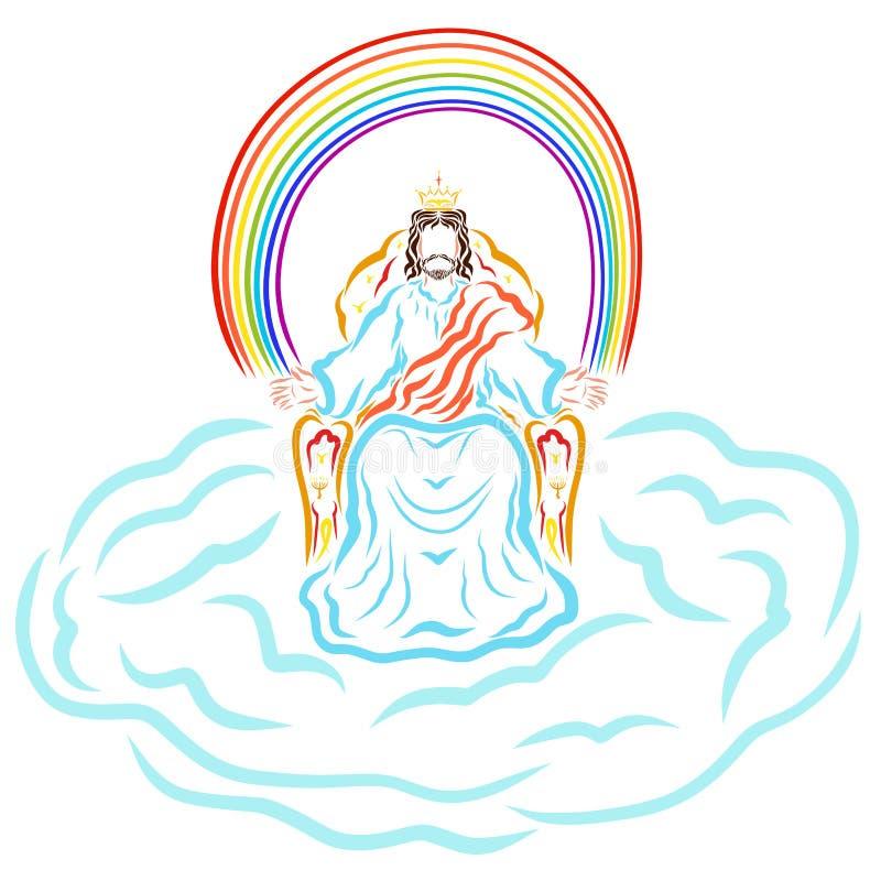 De zitting van koningsJesus op de troon in de wolk onder de regenboog vector illustratie