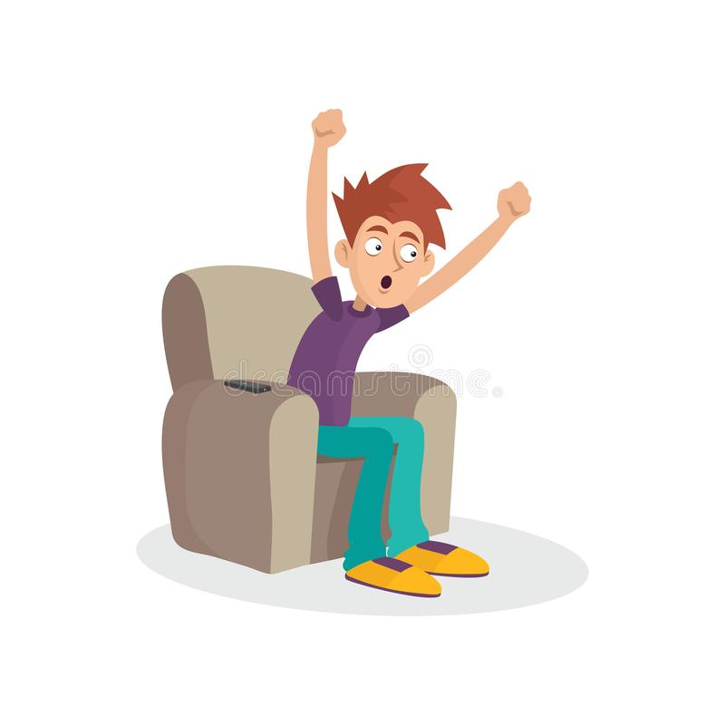 De zitting van de tienerjongen op leunstoel het letten op televisie TV-verslaving Massamediagebiedsdeel Beeldverhaal mannelijk ka royalty-vrije illustratie