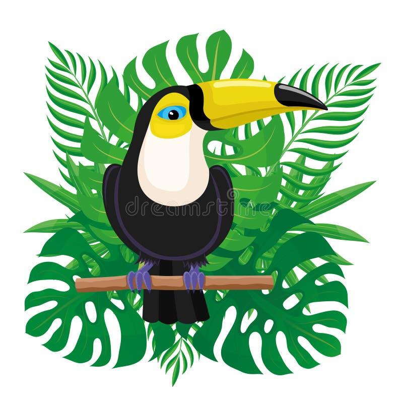 De zitting van de toekanvogel op een tak stock illustratie