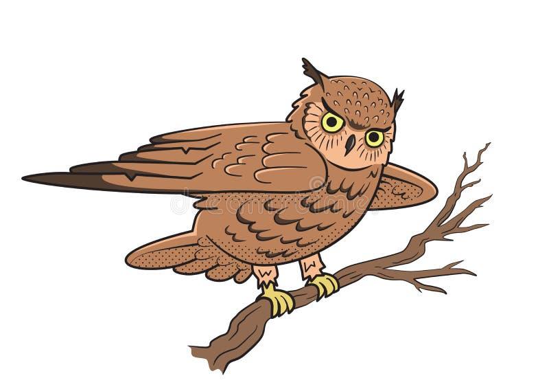 De zitting van de uil op een boomtak Symbool van wijsheid Vector illustratie die op witte achtergrond wordt geïsoleerdd vector illustratie