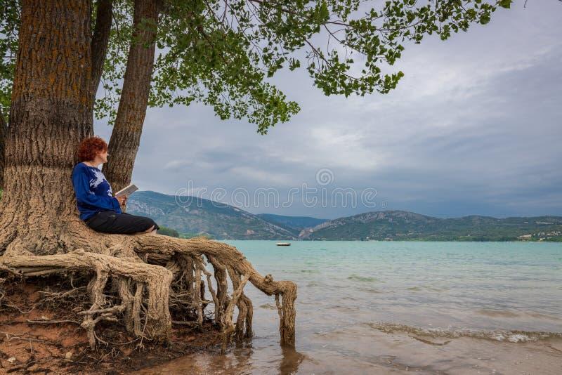 De zitting van de vrouwenlezing in een boom bij de kust van een meer stock afbeeldingen