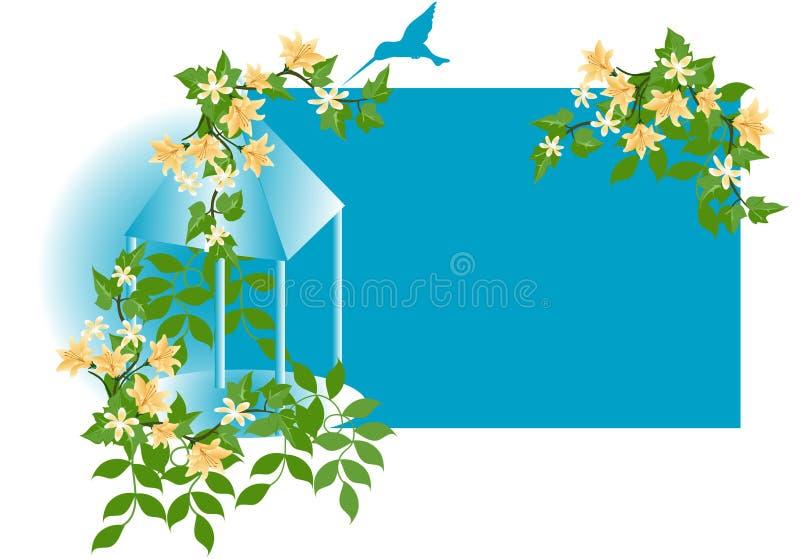 De zoemende BloemenAchtergrond van de Vogel stock illustratie