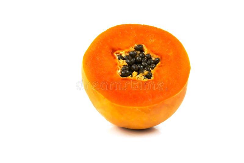De zoete halve besnoeiing van het papajafruit royalty-vrije stock foto's