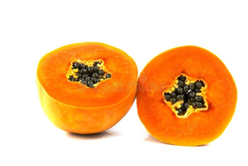 De zoete halve besnoeiing van het papajafruit royalty-vrije stock afbeelding