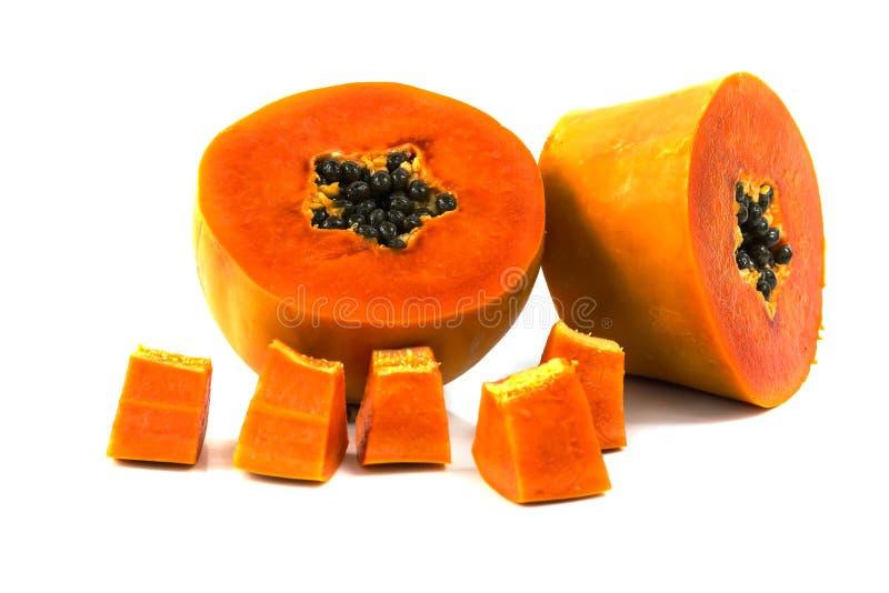 De zoete halve besnoeiing van het papajafruit stock fotografie
