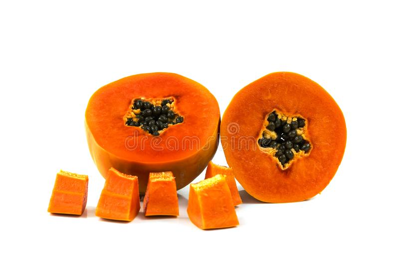 De zoete halve besnoeiing van het papajafruit stock foto