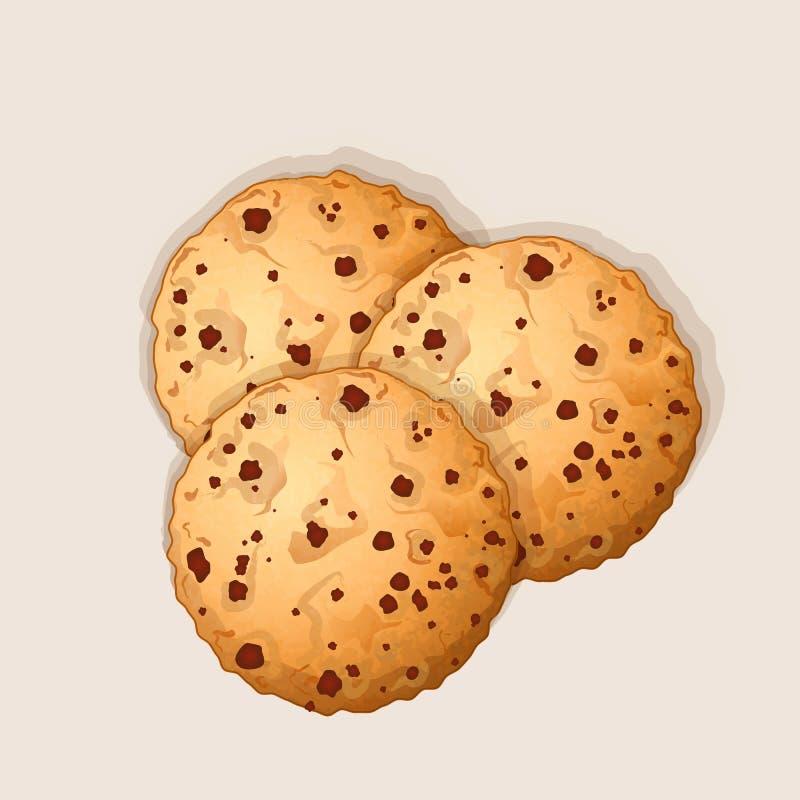 De zoete koekjes van de chocospaander met chocolade stippelt vectorillustratie stock illustratie