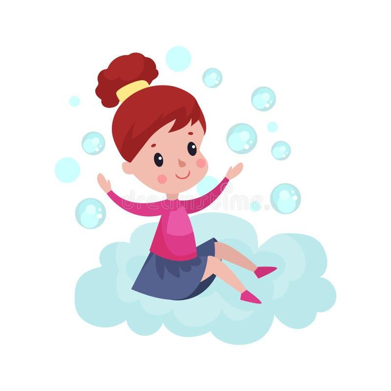 De zoete meisjezitting op een wolk en het spelen met zeepbels, jong geitje fantaseren en dromen beeldverhaalillustratie royalty-vrije illustratie