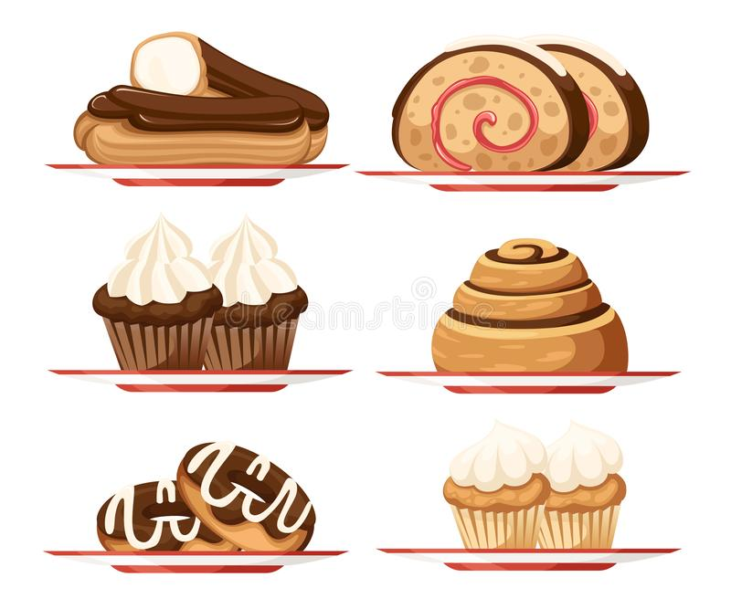 De zoete reeks van het dessertgebakje Inzameling van verschillende types van cakes Vlakke VectordieIllustratie op Witte Achtergro vector illustratie