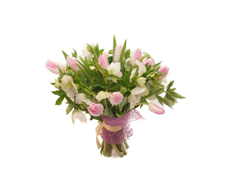De zoete tedere tulpen van het de lenteboeket hellebore royalty-vrije stock foto