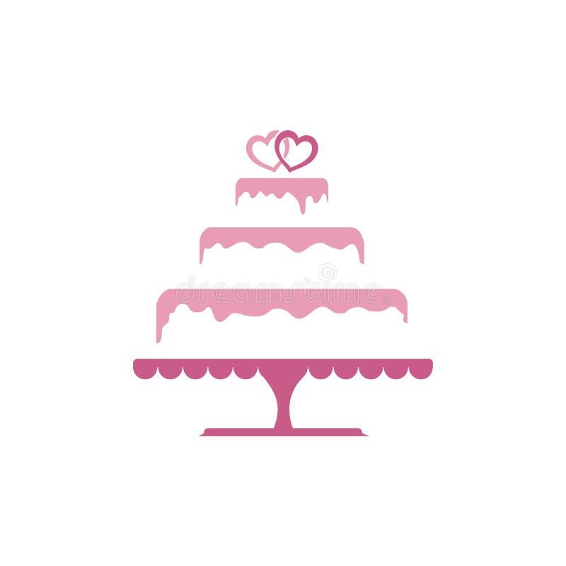 De zoete Tiered Cake Logo Template van het Liefdehuwelijk vector illustratie