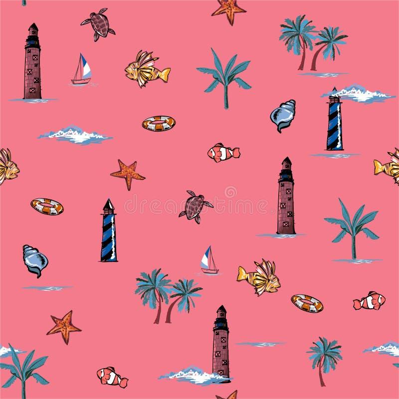 De zoete Vector is naadloos en herhaalbaar De tropische de zomerelementen drukken Behang met het eilandstemming van het aardstran royalty-vrije illustratie
