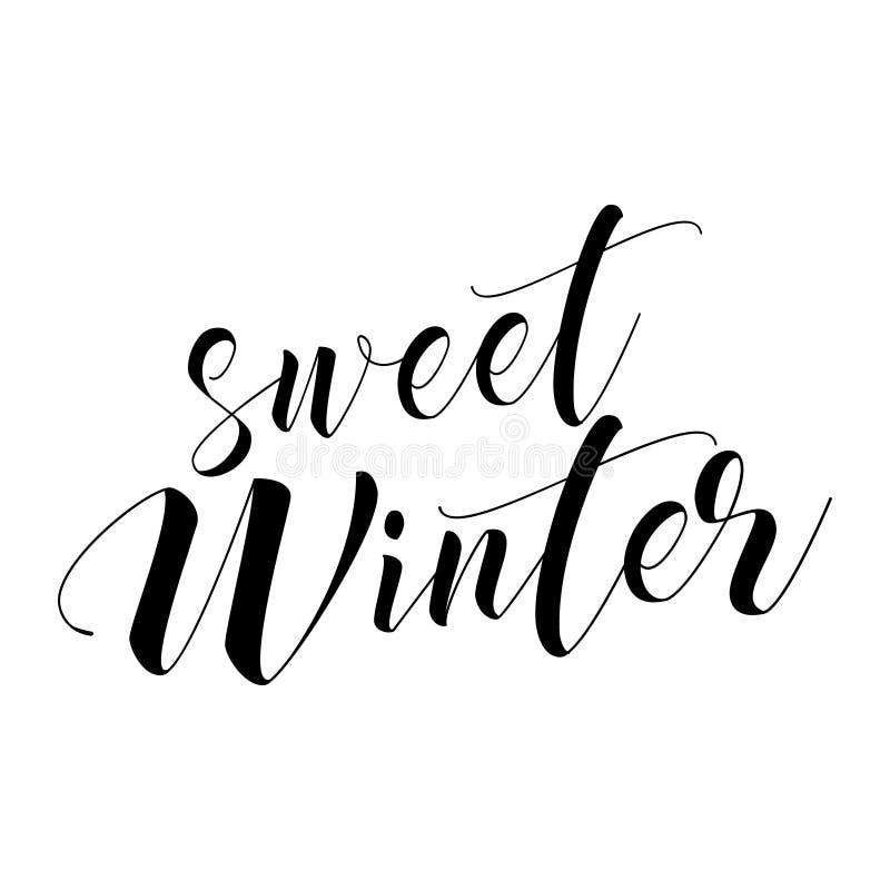 De zoete Winter - van letters voorziende tekst vector illustratie