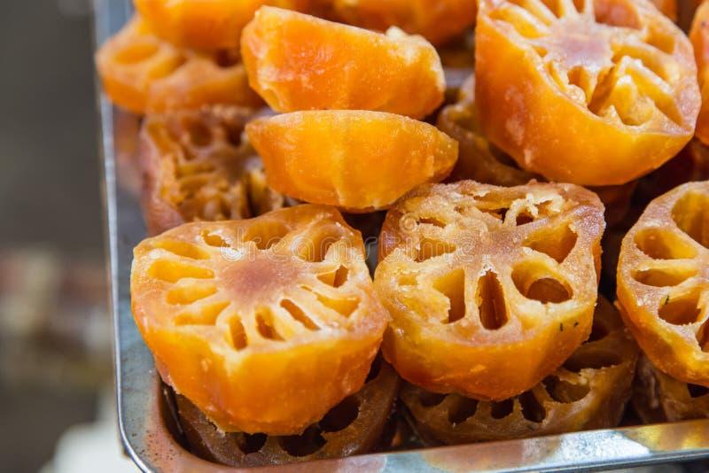 De zoete wortel van Lotus of de wortel van de Waterlelie stock fotografie