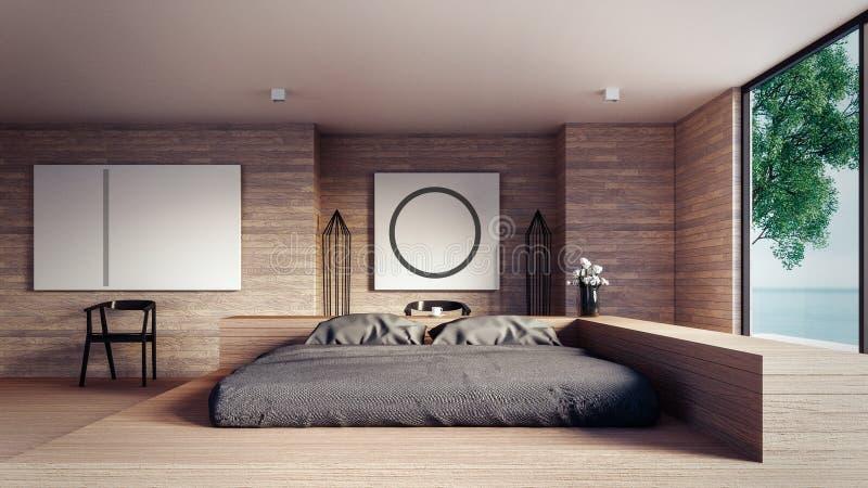 De Zolder en de Moderne slaapkamer - bespot omhoog binnenlands 3D teruggevend binnenland royalty-vrije illustratie