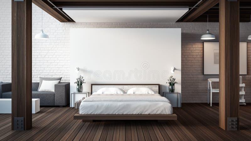De Zolder & de Moderne Slaapkamer/3D geven binnenland terug vector illustratie