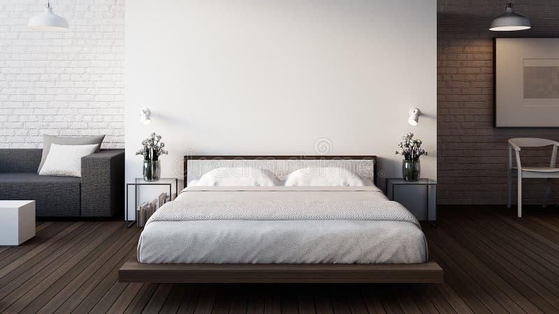 De Zolder & de Moderne Slaapkamer/3D geven binnenland terug stock illustratie