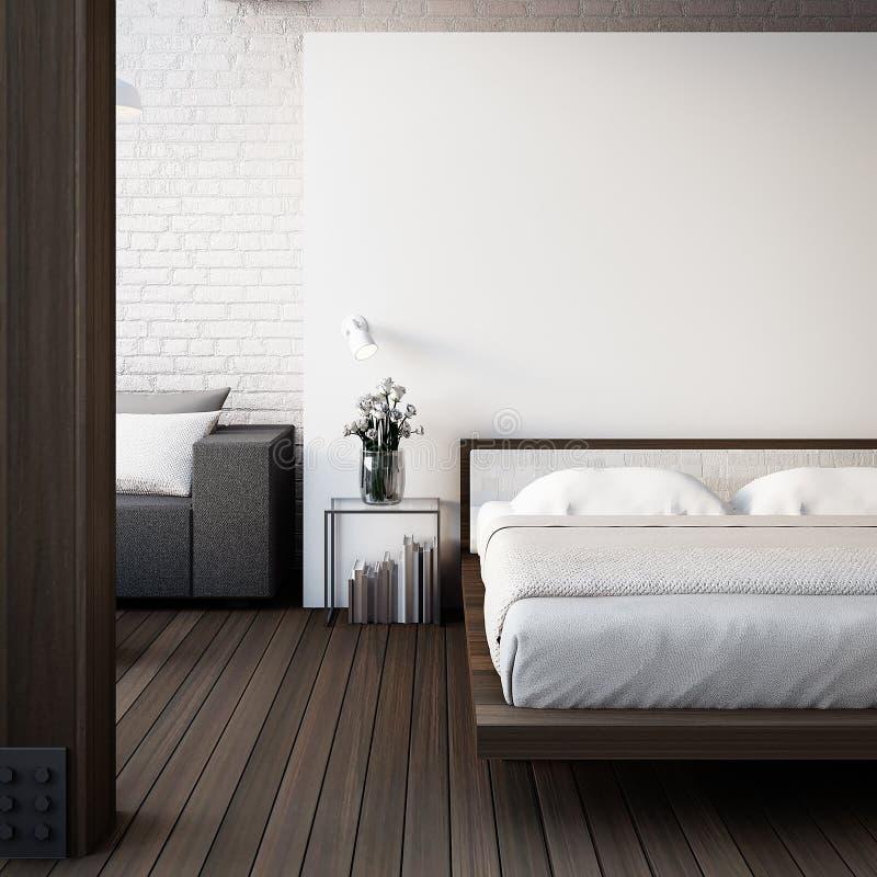 De Zolder & de Moderne Slaapkamer/3D geven binnenland terug royalty-vrije illustratie