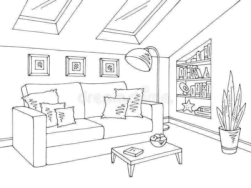 De zoldervector van de de schetsillustratie van het woonkamer grafische zwarte witte huis binnenlandse vector illustratie