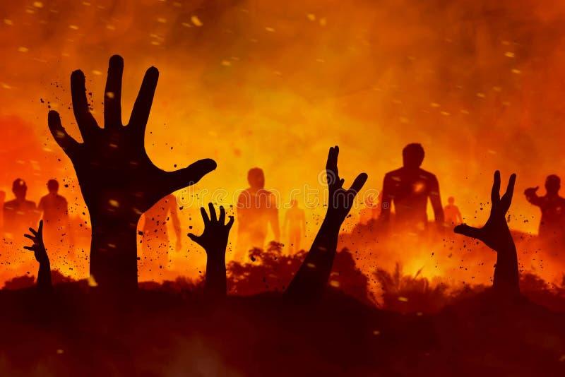 De zombieën overhandigen silhouet vector illustratie