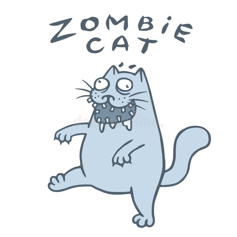 De zombiekat gaat op zoek naar de hersenen Vector illustratie stock illustratie