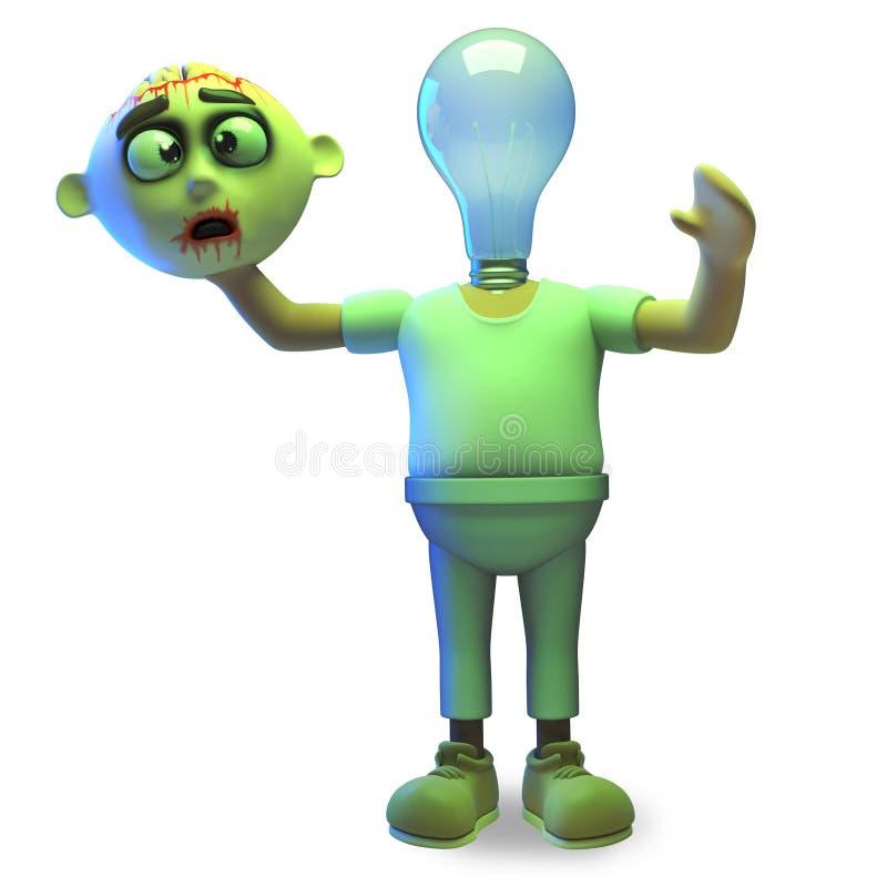 De zombiemonster van beeldverhaal heeft 3d Halloween een lightbulb voor een hoofd, hoe verlichtend, 3d illustratie stock illustratie