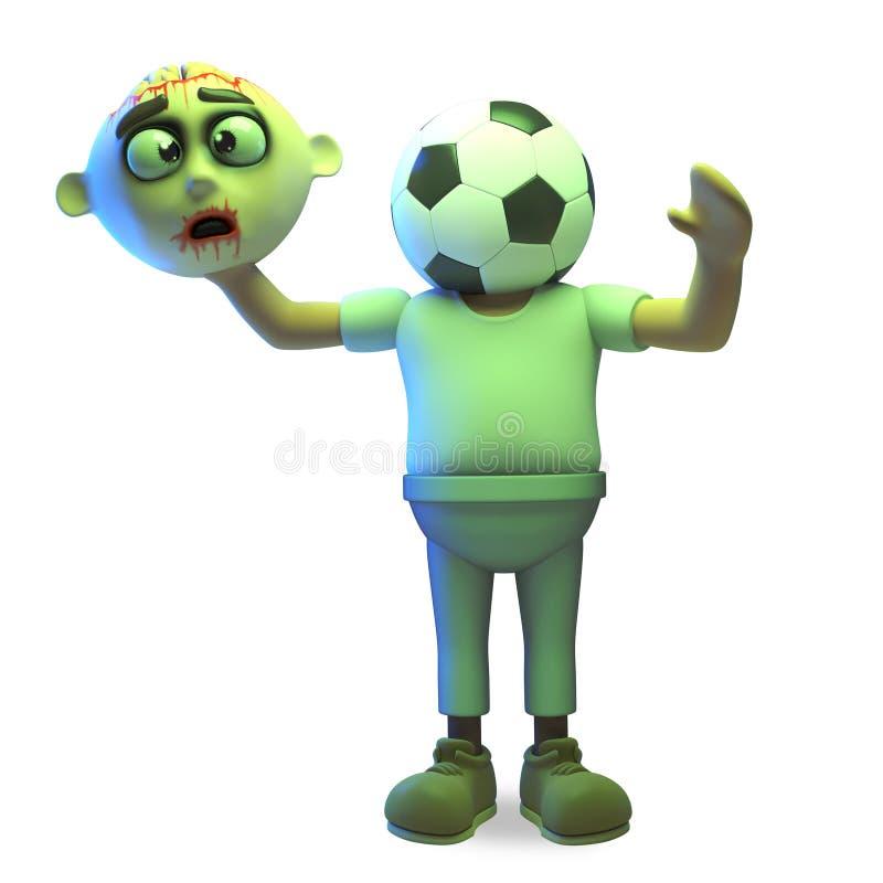De zombiemonster van sporten heeft het gekke Halloween zijn hoofd voor een voetbalbal, 3d illustratie geruild vector illustratie