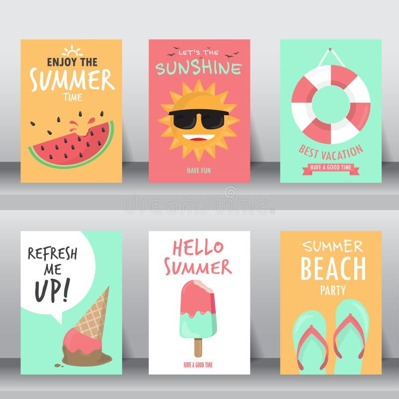 De zomer achtergrondreeks, vlak ontwerp voor vector vector illustratie