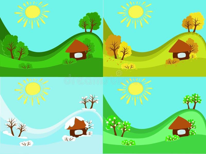 de Zomer Autumn Winter van de 4 seizoenenlente stock afbeelding
