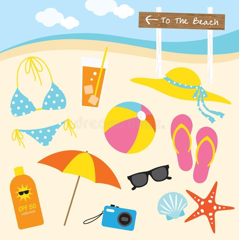 De zomer bij het Strand royalty-vrije illustratie