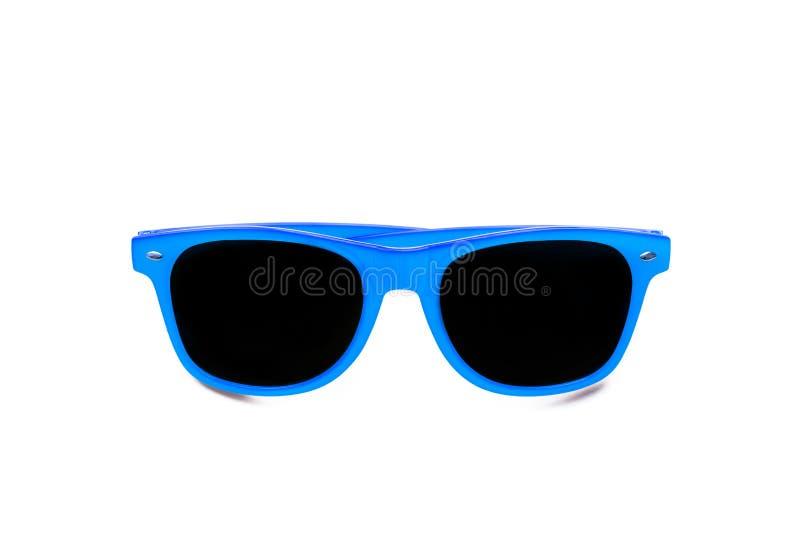 De zomer blauwe die zonnebril op naadloze witte achtergrond wordt geïsoleerd Minimaal ontwerpelement voor zonbescherming, hete da royalty-vrije stock foto's