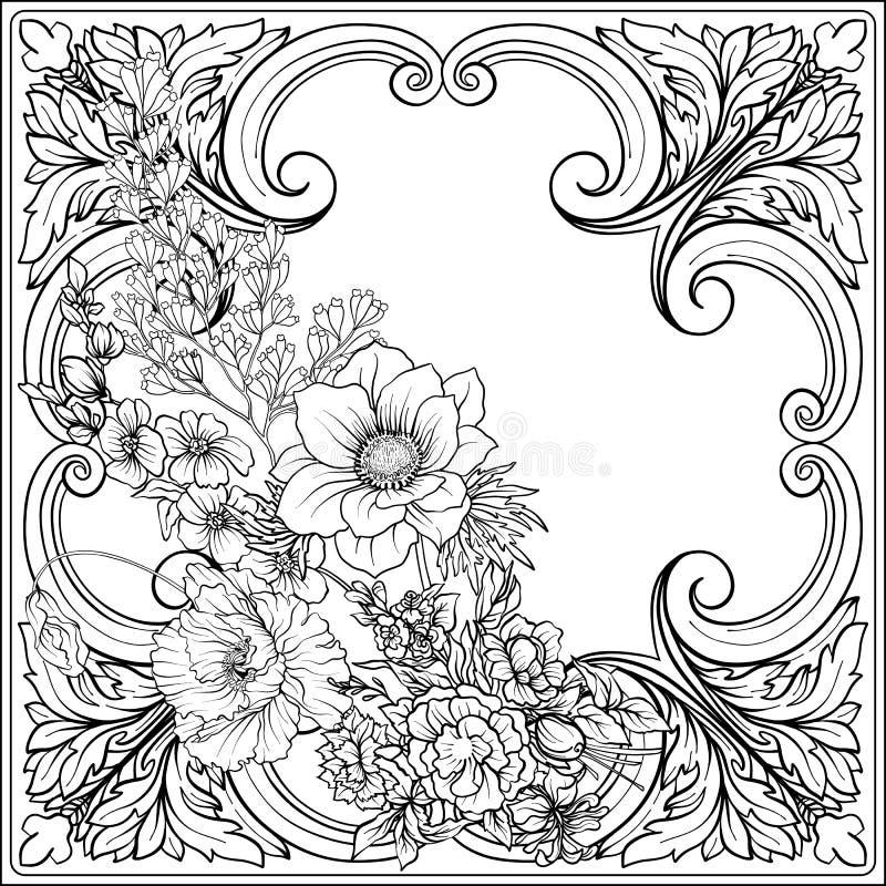 De zomer bloeit: papaver, gele narcis, anemoon, viooltje, in botanisch stock illustratie