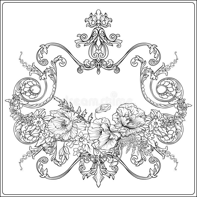 De zomer bloeit: papaver, gele narcis, anemoon, viooltje, in botanisch royalty-vrije illustratie