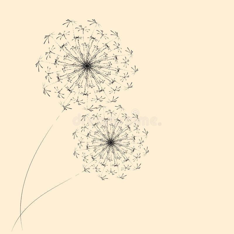 De zomer bloemenachtergrond van gestileerde paardebloemen Voor het ontwerp van prentbriefkaaren, brochures, vliegers royalty-vrije illustratie