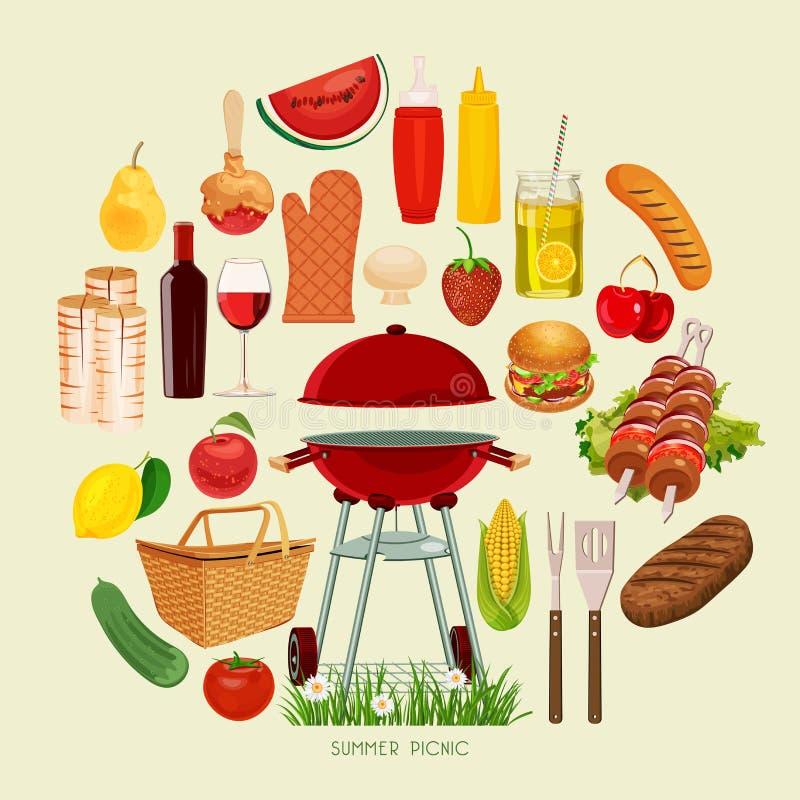 De zomer, de affiche van de de lentepicknick stock illustratie