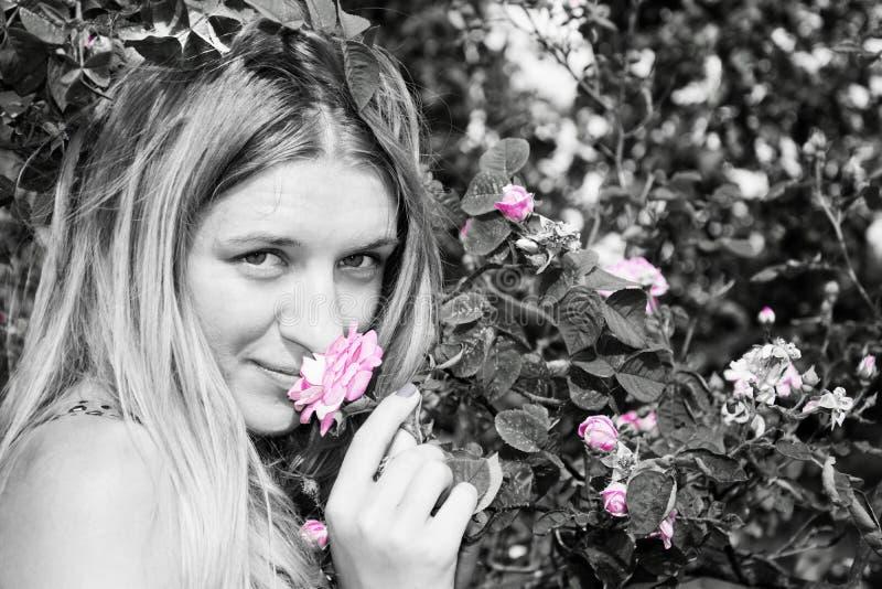 De zomer in de tuinvrouw die zich dichtbij een roze struik bevinden Close-up stock afbeelding