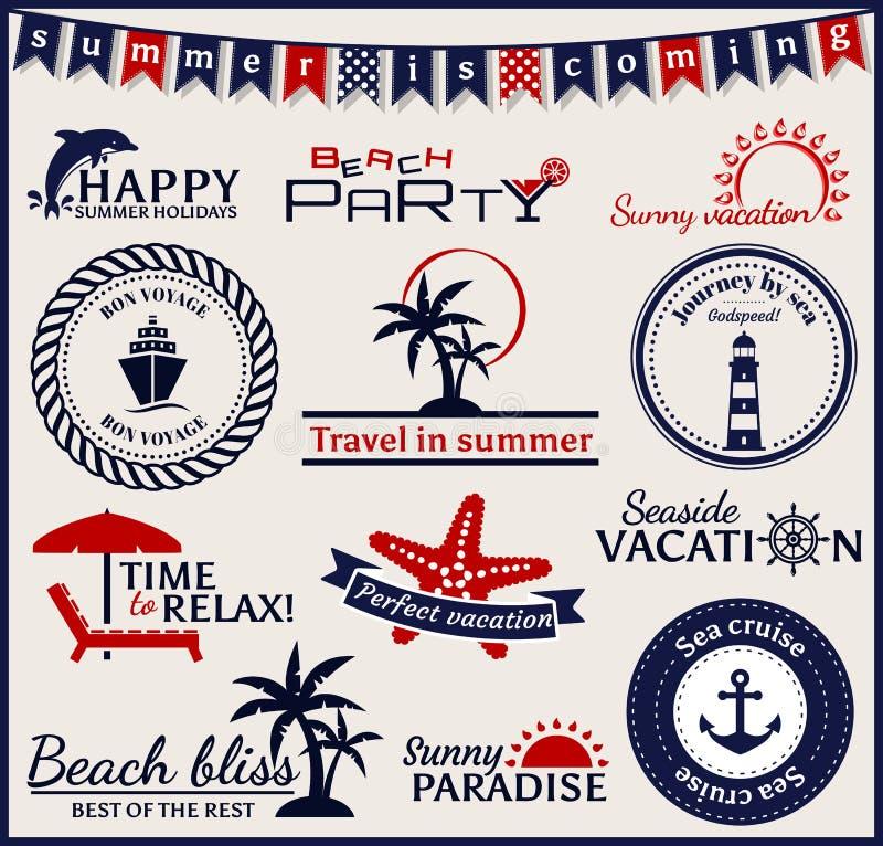 De zomer en overzeese etiketten, symbolen en emblemen Het vectorontwerp elemen royalty-vrije illustratie