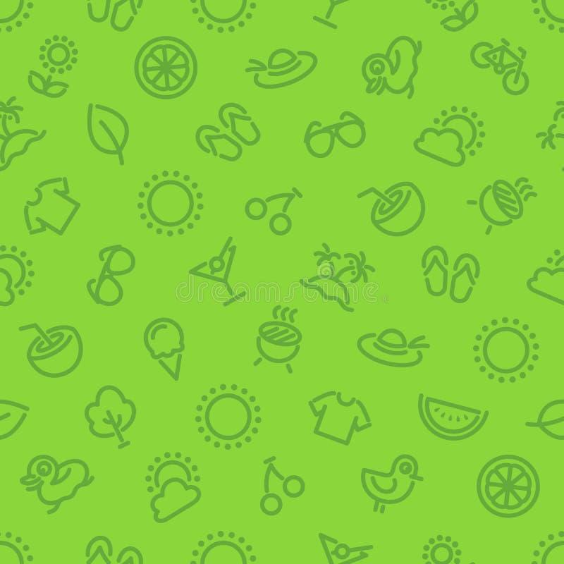 De zomer en Vakantie Groen Naadloos Patroon vector illustratie