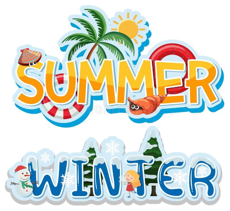 De zomer en de winterbanner stock illustratie