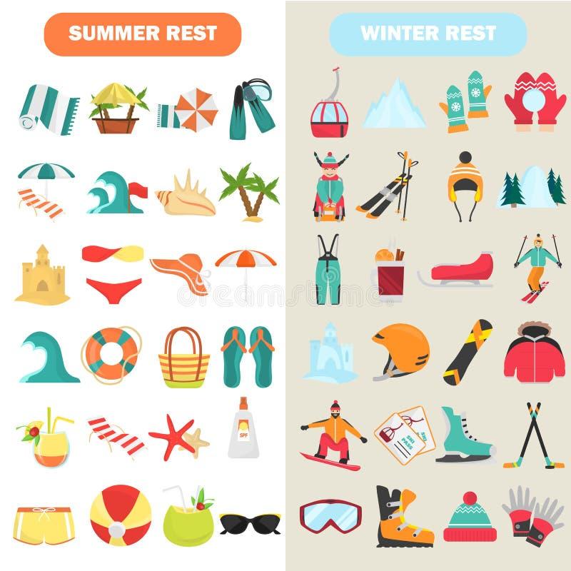 De zomer en de winterrust geplaatste kleuren vlakke pictogrammen stock illustratie