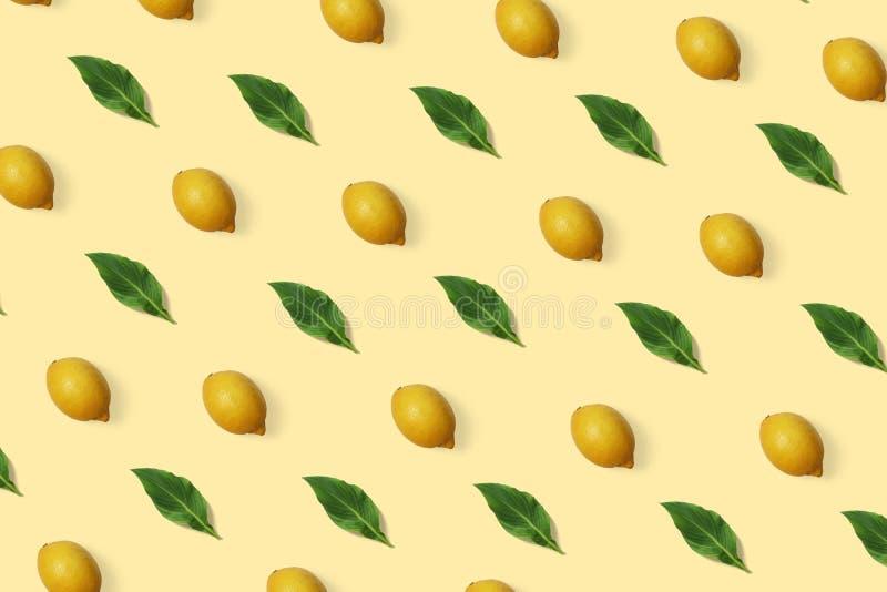 De zomer exotisch patroon met citroen en groene bladeren op de minimale achtergrond stock illustratie