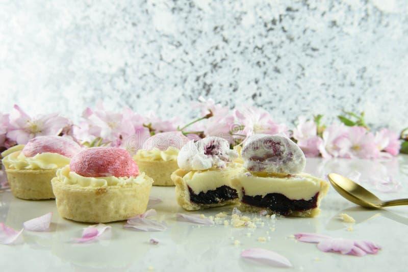 De zomer gebakken fruit en roomtaartjes of dessert stock afbeelding