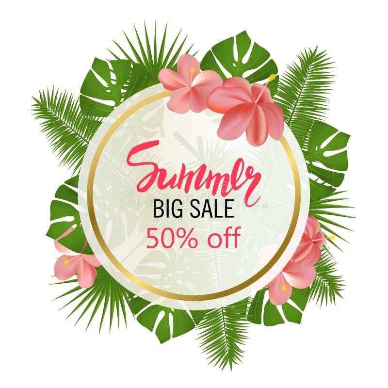 de zomer grote verkoop Rond tropisch de bladerenkader van de de zomerverkoop Tropische bloemen, bladeren en installatiesachtergro royalty-vrije illustratie
