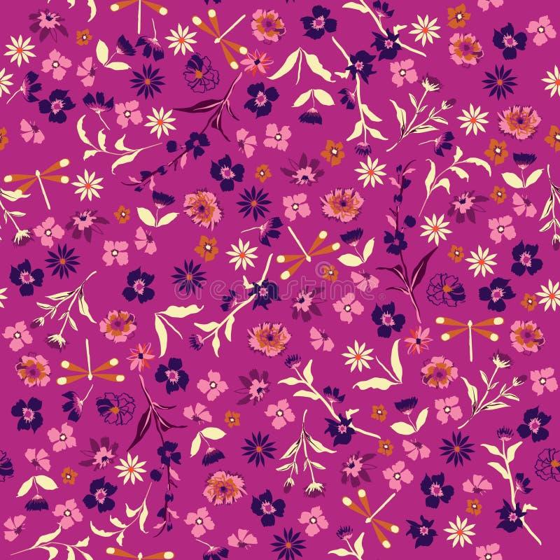 De zomer In Hand getrokken kleurrijk Bloemenpatroon Naadloze vecto stock illustratie